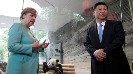 German Chancellor Angela Merkel gestures next to Chinese President Xi Jinping in Berlin © Axel Schmidt