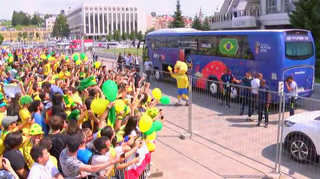 Brazil arrive in Kazan to raucous reception ahead of World Cup quarter-final (VIDEO)