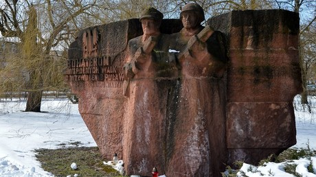 Ukrainian city topples Soviet WWII monument 'in critical condition'… after 3rd attempt