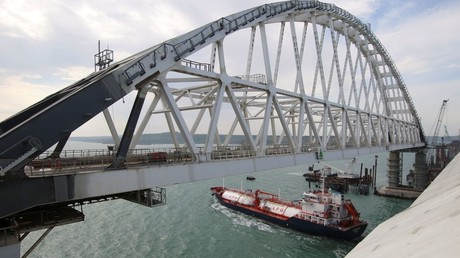 A general view shows a road-and-rail bridge, which is constructed to connect the Russian mainland with the Crimean Peninsula © Pavel Rebrov
