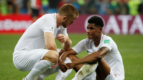 England's Eric Dier and Marcus Rashford look dejected after the match REUTERS/Grigory Dukor