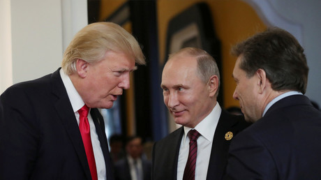 FILE PHOTO: US President Trump and Russian President Putin talk at the APEC summit in Danang, Vietnam November 11, 2017. © Sputnik Photo Agency
