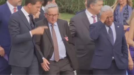 Drunk or in pain? EU's Juncker filmed stumbling at NATO summit (VIDEO)