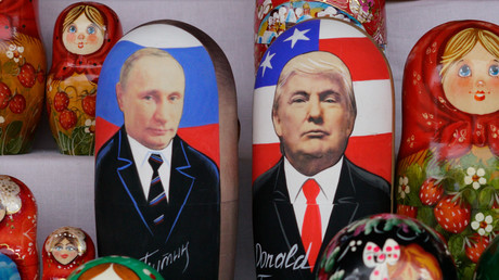 Russian Matryoshka dolls depicting t Vladimir Putin and  Donald Trump are seen on sale at flea market in Moscow