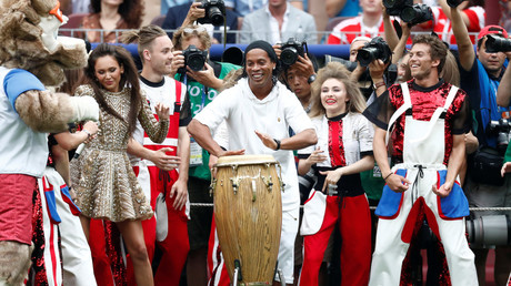 Ronaldinho plays in World Cup final with brilliant bongo performance to Russian song Kalinka