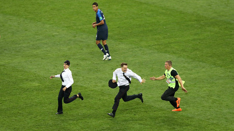 Pussy Riot say they staged four-person pitch invasion during World Cup final