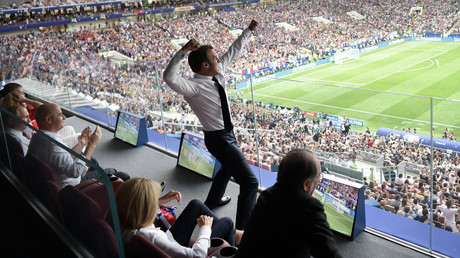 Macron celebrates wildly in front of Putin at World Cup final in Moscow (PHOTO)