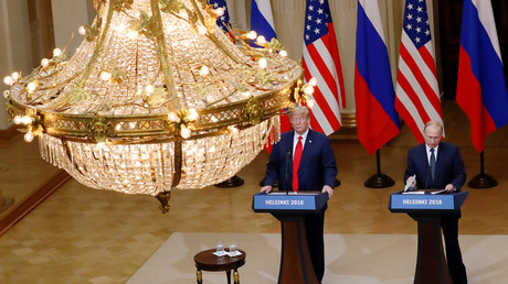 U.S. President Donald Trump and Russian President Vladimir Putin hold a joint news conference after their meeting in Helsinki, Finland, July 16, 2018. ©   Leonhard Foeger