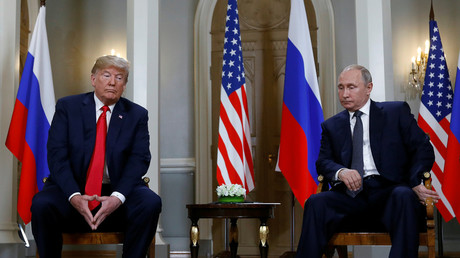 U.S. President Donald Trump meets with Russian President Vladimir Putin in Helsinki, Finland, July 16, 2018. © Kevin Lamarque