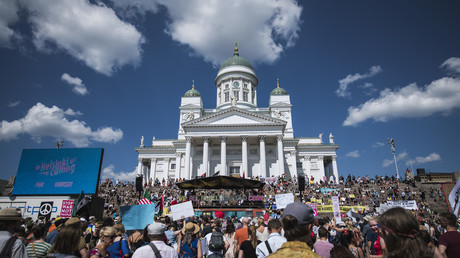 Protesters gather on the Senate Square at the end of the so-called