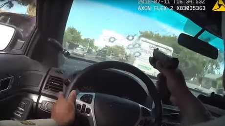 Cop shoots through windshield in high-speed chase, ends with car plowing into school (VIDEO)