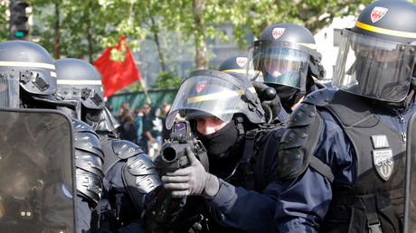 French CRS riot police at this year's May Day rally in Paris © Philippe Wojazer/Reuters