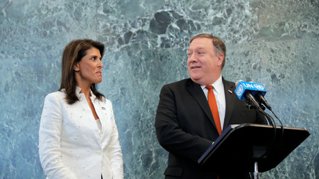 Ambassador Nikki Haley and Secretary of State Mike Pompeo at the UN, July 20, 2018 © Brendan McDermid