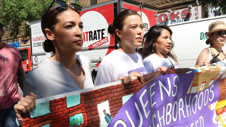 Alexandria Ocasio-Cortez with activists, New York City, June 30, 2018 © G. Ronald Lopez