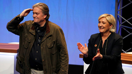 Steve Bannon at an event with National Front's leader Marine Le Pen. March 10, 2018. © Pascal Rossignol