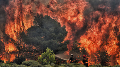 WATCH Dramatic moment man escapes Greece wildfire as flames consume his home