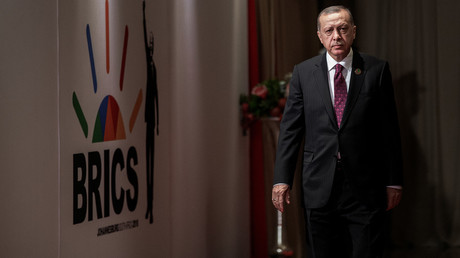 Turkey's President Tayyip Erdogan at the BRICS summit meeting in Johannesburg, South Africa © Gianluigi Guercia