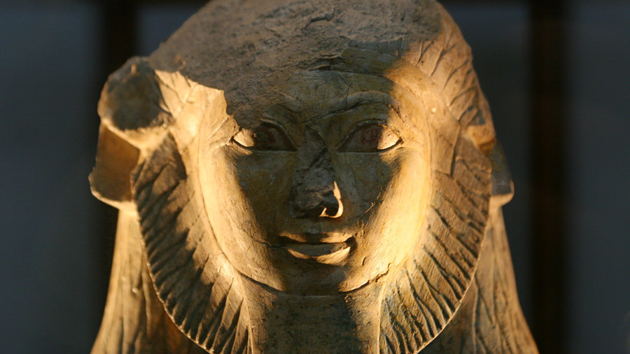 Ancient Egyptian sphinx discovered during road construction between ancient temples