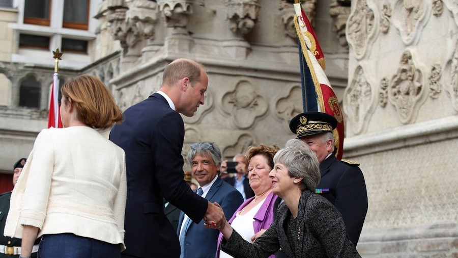 May's fawning curtsy for Prince William is mocked ... and it's not the first time