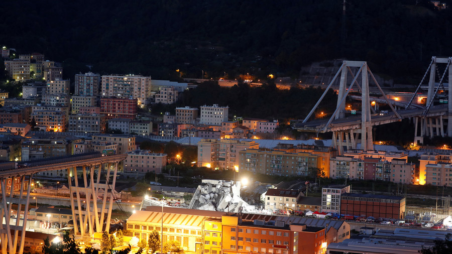 Drone footage captures night search for survivors of Genoa bridge collapse (VIDEO)