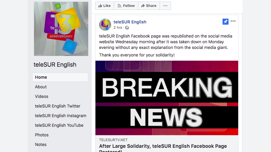 Facebook restores Telesur page with vague explanation of controversial block