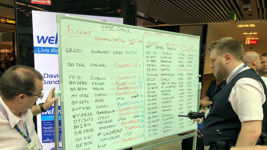 Whiteboards used as Gatwick flight info screens fail