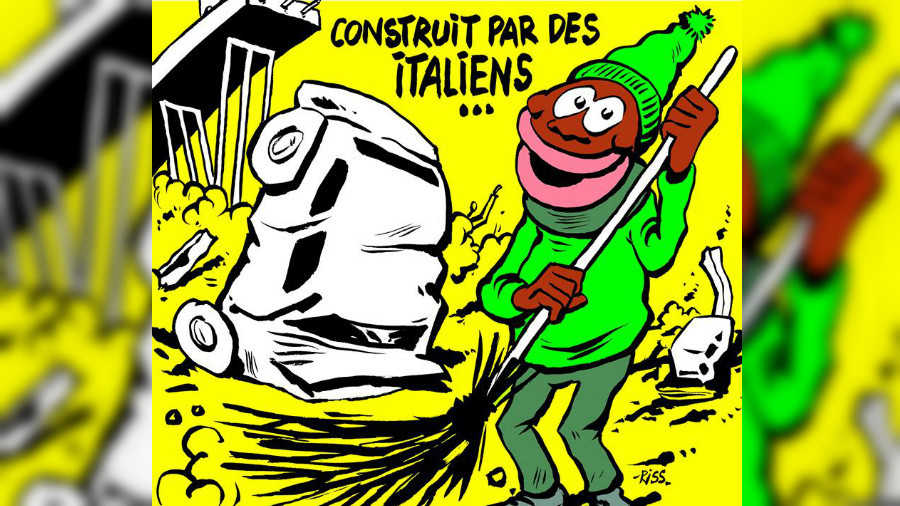 'Cleaned by migrants': Italy outraged by 'sick' Charlie Hebdo cartoon of Genoa bridge collapse
