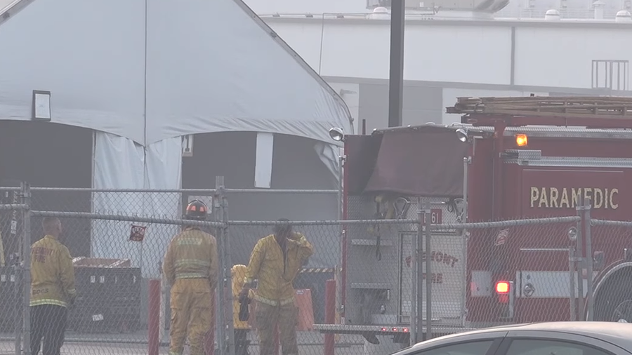 Fire contained at Tesla's car production factory in California
