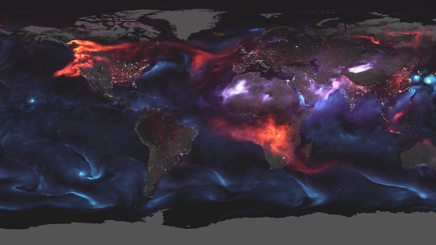 Earth, fire & water: NASA maps atmospheric aerosols in psychedelic image