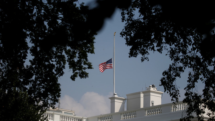White House Flag Flies At Full Staff As Nation Honors John McCain
