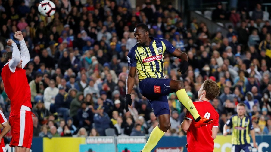 Up and running: Usain Bolt makes debut for Australian football club Central Coast Mariners (VIDEO)