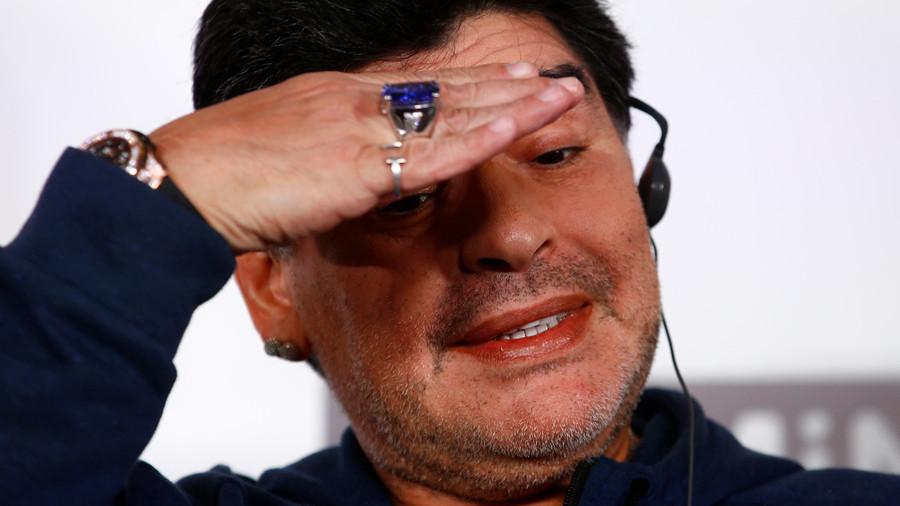 Dinamo Breast! Maradona flashes nipples to Belarusian football fans (VIDEO)