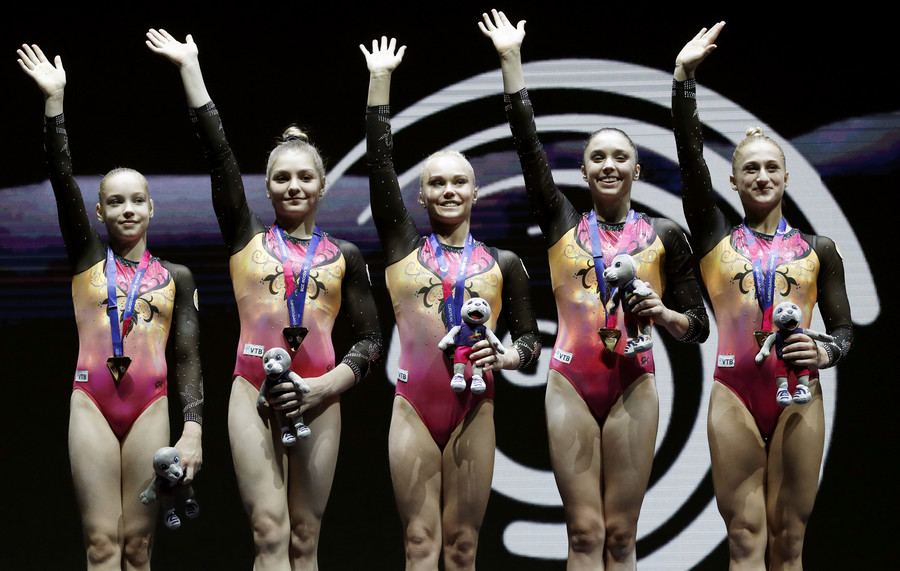 Russian gymnasts, synchronized swimmers win more golds at European Championships
