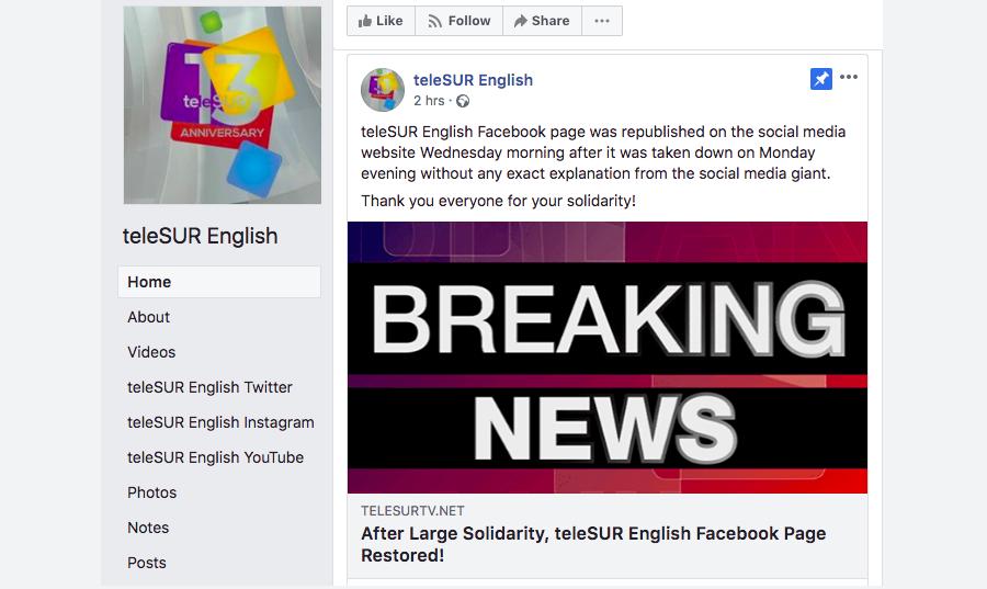 Facebook restores Telesur page with vague explanation of controversial block