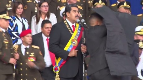 Venezuelan President Nicholas Maduro during a failed assassination attempt at a military event in Caracas @ Ruptly