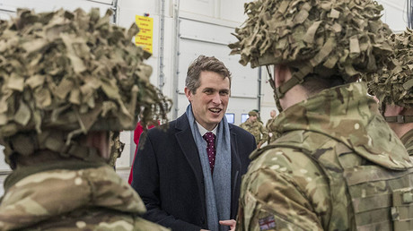 The UK Defense Minister Gavin Williamson chats to defence personnel. © Karli Saul / Global Look Press