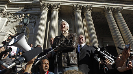 WikiLeaks founder Julian Assange at a protest in London. October, 2011 © Luke MacGregor