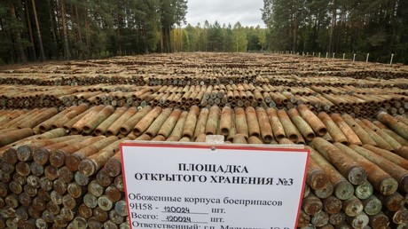 An open storage for burnt ammunition containing toxicant agents to be recycled as part of the program for chemical weapon destruction at Kizner facility in Russia's Udmurtia. © Iliya Pitalev