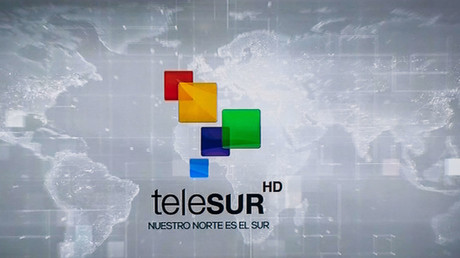 Telesur logo. © Roberto Machado Noa/LightRocket via Getty Images