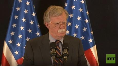 US National Security Advisor Bolton speaks in Jerusalem