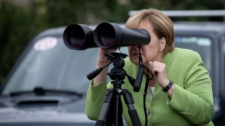 What did Angela see? Russians ridicule Merkel for spying on 'Putin's base' with large binoculars