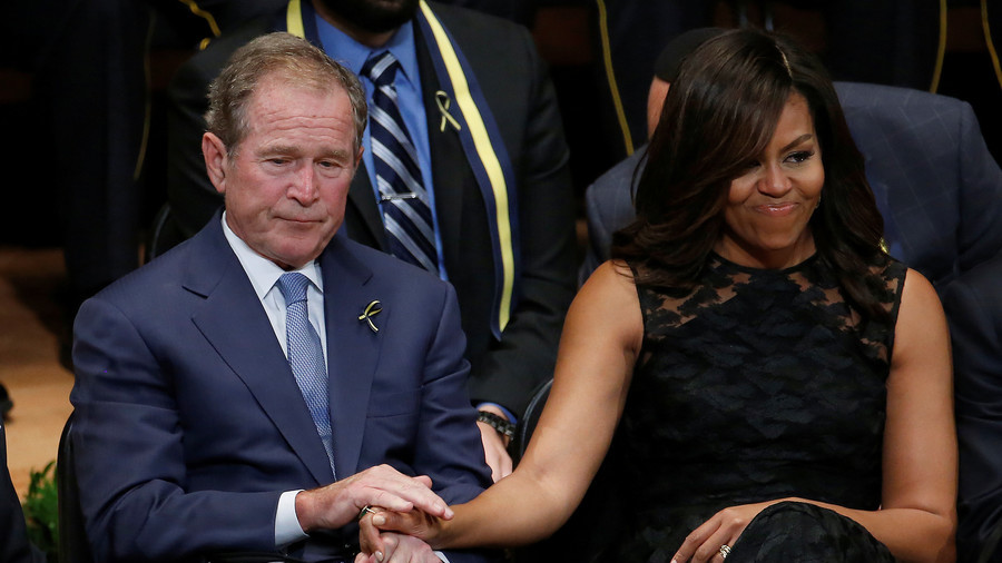Pundits lose minds over 'bipartisan' candy-sharing moment between George W. Bush & Michelle Obama