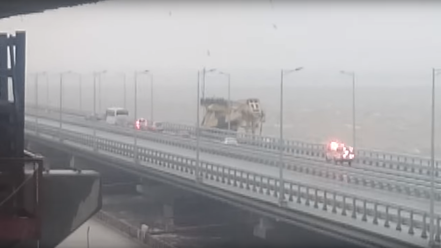 Floating crane hits Crimean Bridge during heavy storm in Russia (VIDEOS)