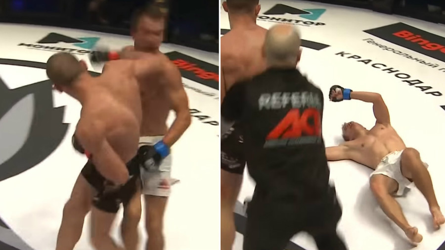 Crazy elbow KO leaves MMA fighter unconscious for minutes (VIDEO)