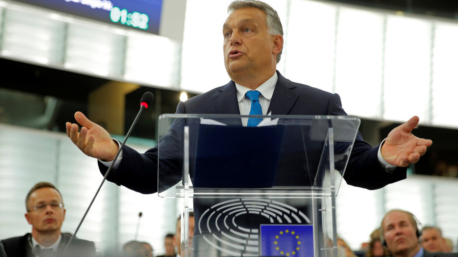 'You condemn us because we are not a nation of migrants,' Orban tells EU before sanctions vote