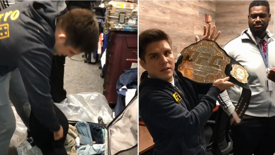 'I've missed her!' UFC flyweight champ Cejudo reunited with belt lost en route to Moscow (VIDEO)