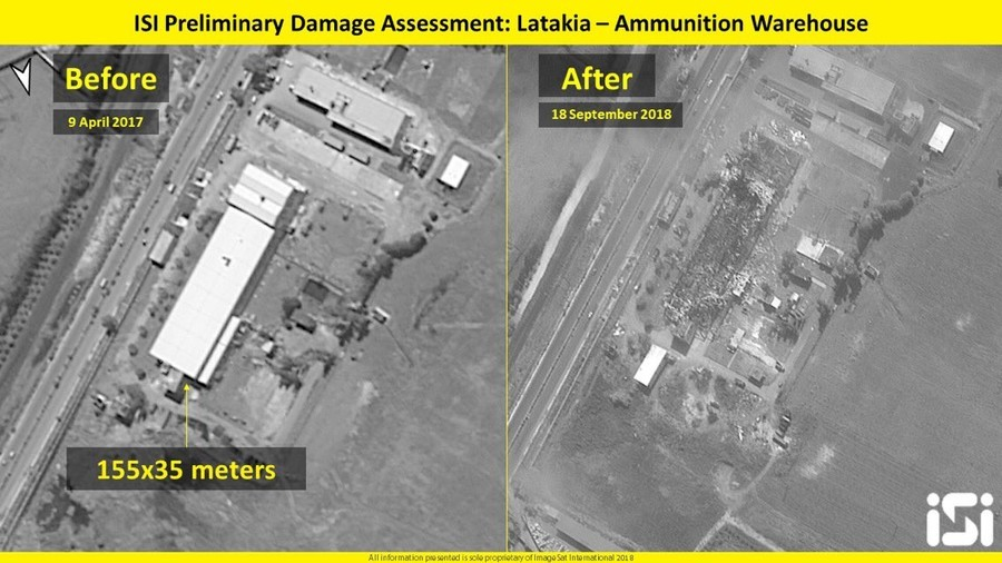 Satellite pics show Syria strike as Israeli Air Force chief goes to Moscow to explain Il-20 incident