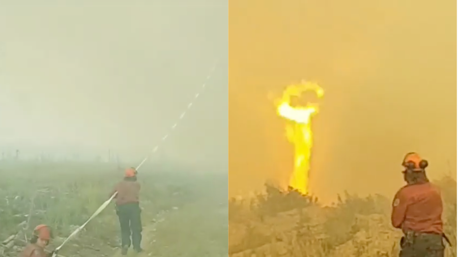 Video shows 'firenado' pulling hose out of firefighter's hands