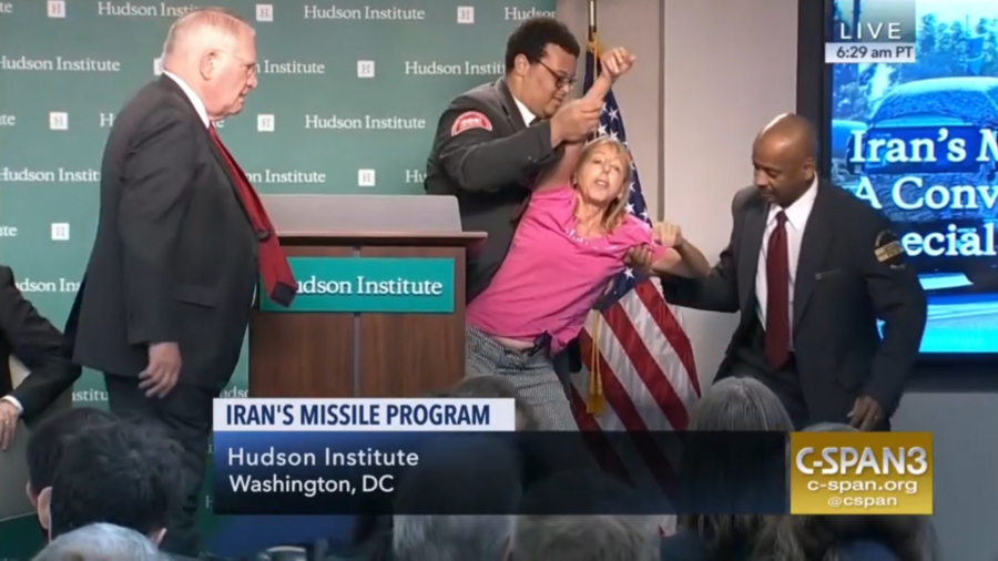 'Peace with Iran!' Anti-war activist dragged from Trump official's anti-Tehran speech (VIDEO)