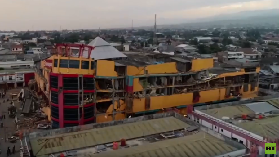 Aerial footage reveals scale of destruction from Indonesian earthquake and tsunami (VIDEO)